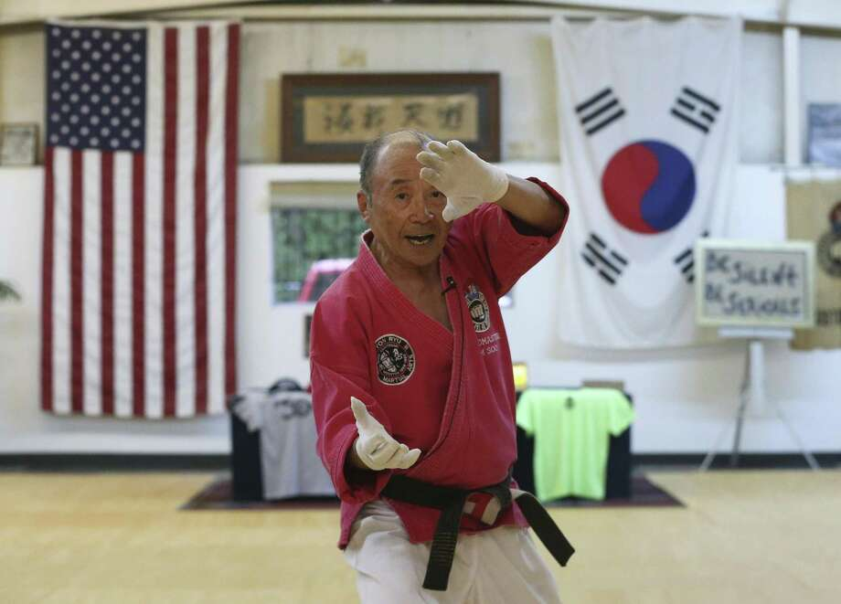 Grandmaster Kim Soo, 77, demonstrates in an adult class at his martial arts school on Wednesday, April 25, 2018, in Houston. Kim, who came to the United States from South Korea in 1968 to teach martial arts, is celebrating 50th anniversary of him teaching martial arts in Houston. ( Yi-Chin Lee / Houston Chronicle ) Photo: Yi-Chin Lee / Houston Chronicle / © 2018 Houston Chronicle