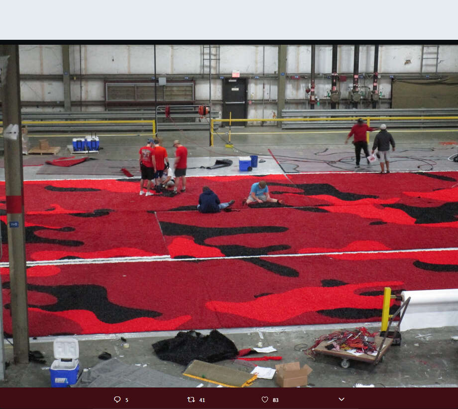 "Brian Wickstrom (@UIW_AD): ""Presenting the beginning of the first Camo end zones in college football...being hand-stitched by @FieldTurf - Retweet if you like. First home football game, counting today is 131-days! #SpreadTheWord"" Photo: Twitter/Brian Wickstrom"