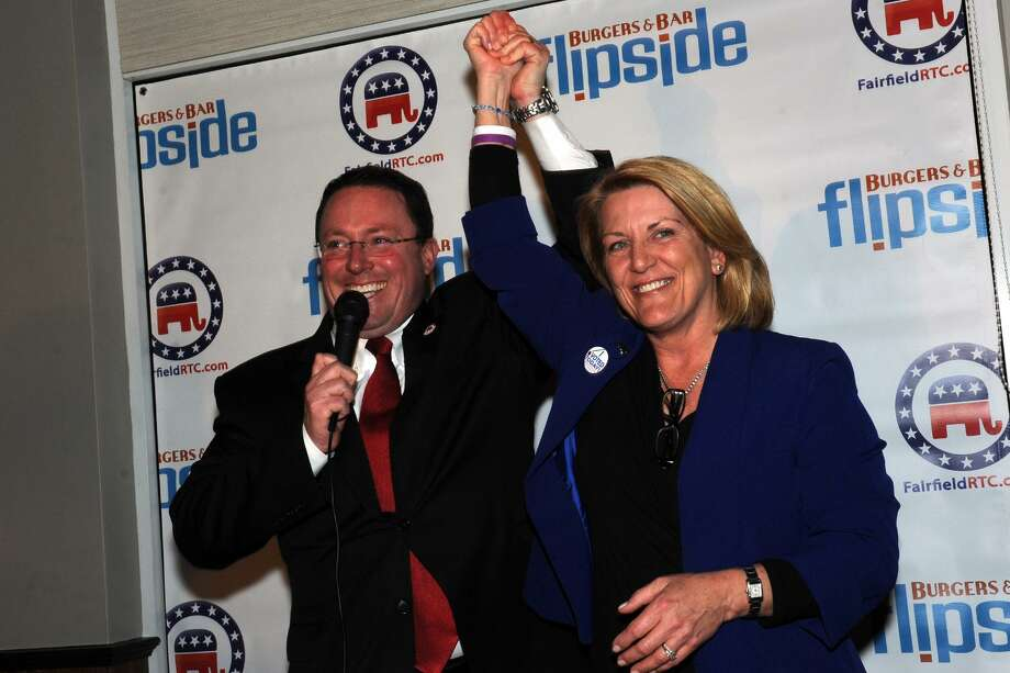 Fairfield Republican Town Chairman James Millington is shown in a 2016 file photo celebrating the re-election of state Rep. Brenda Kupchick. Photo: Ned Gerard / Hearst Connecticut Media / Connecticut Post