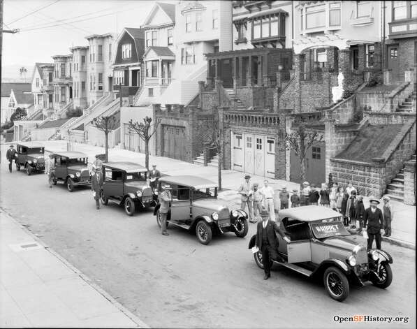 A 1927 advertisement for Whippet Autos, taken on Fair Oaks between 25th and 26th streets.  Photo courtesy ofOpenSFHistory. Photo: OpenSFHistory/Courtesy