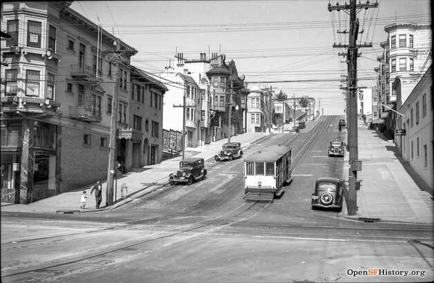 The Castro cable car rattles down Castro and 24th St. in 1938, a few years before it was decommissioned.  Photo courtesy ofOpenSFHistory. Photo: OpenSFHistory/Courtesy