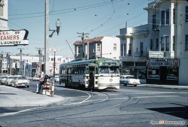 A Muni streetcar rounds 30th and Church on Feb. 22, 1960. Johnnie's Fountain Grill is seen at right. Photo courtesy ofOpenSFHistory. Photo: OpenSFHistory/Courtesy