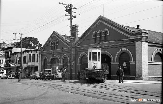 A vestige of another era, even when this photo was taken, is the Castro Street cable car barn. It sat at the corner of Jersey and Castro streets and housed cars on the Castro St. line. The Castro cable car line was retired in 1941 (when this photograph was taken) due to increasing Muni availability.  Photo courtesy ofOpenSFHistory. Photo: OpenSFHistory/Courtesy