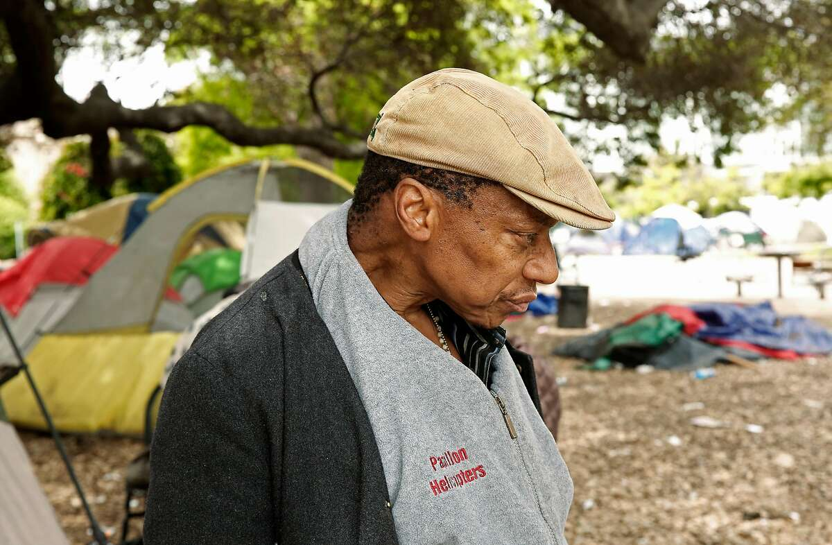Arthur Porter by his tent in Lafayette Park, after he talked about the NBA Golden State Warrior who have their practice facility a little over a block away from their homeless encampment in Oakland, Ca. on Thurs. May 3, 2018.