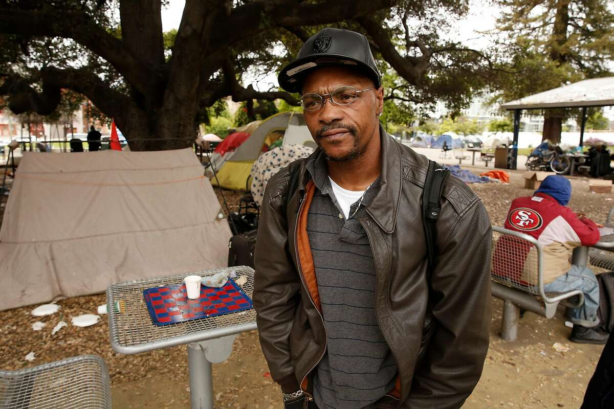 Cedric Montgomery who lives in a tent in Lafayette Park, talks about the NBA Golden State Warriors who have their practice facility a little over a block away from their homeless encampment in Oakland, Ca. on Thurs. May 3, 2018.