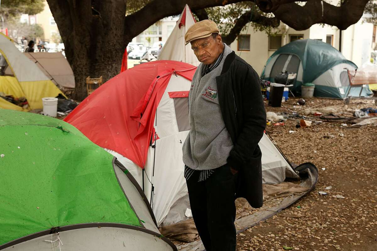 Arthur Porter next to his tent in Lafayette Park, after he talked about the NBA Golden State Warriors who have their practice facility a little over a block away from their homeless encampment in Oakland, Ca. on Thurs. May 3, 2018.