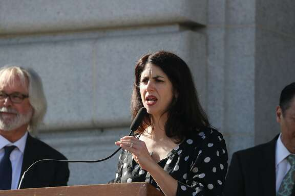 Supervisors Hillary Ronen (speaking) and Sandra Lee Fewer with community based immigrant service organizations and the SF Public Defender?s office to announce the legislation that would provide immediate increased funding to provide supplemental funds to support universal immigrant legal defense and outreach programs. on Tuesday, Jan. 23, 2018 in San Francisco, CA.