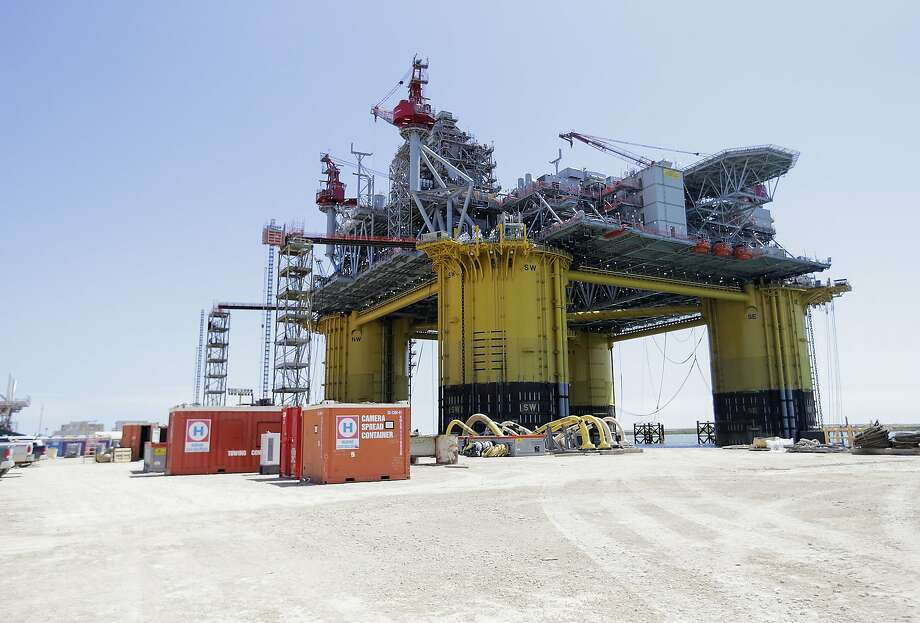 A view of Shell's new Gulf deepwater platform, Appomattox, before it's set out to sea on Monday, April 23, 2018, in Ingleside. ( Elizabeth Conley / Houston Chronicle ) Photo: Elizabeth Conley, Houston Chronicle