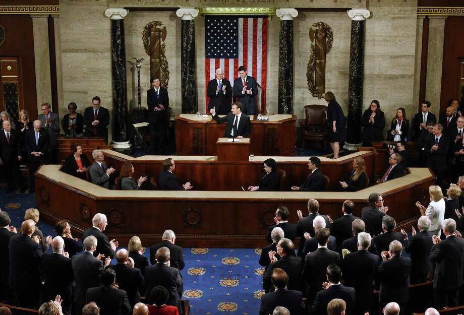 French President Emanuel Macron addresses a joint session of Congress during his state visit to the United States on April 25. Photo: Olivier Douliery, MBR / TNS / Abaca Press