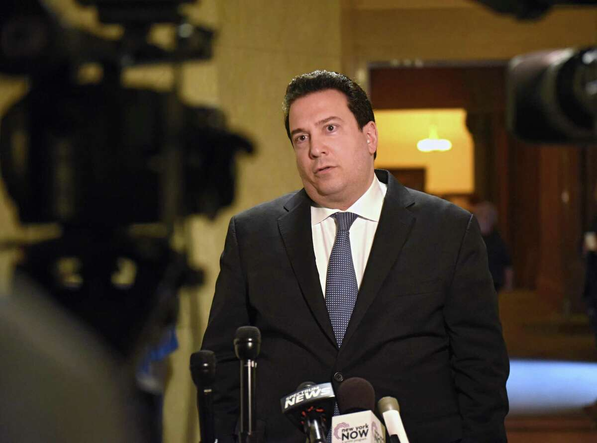 New York attorney Manny Alicandro formally announces his campaign for Attorney General at the Capitol on Monday May 7, 2018 in Albany, N.Y. (Lori Van Buren/Times Union)