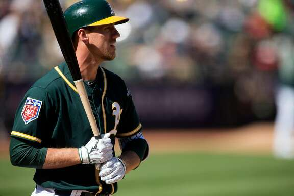 Oakland Athletics Stephen Piscotty takes his place in the batter's box against the San Francisco Giants during the seventh inning of a Major League Baseball game,  Sunday, March 25, 2018 in Oakland, Calif.