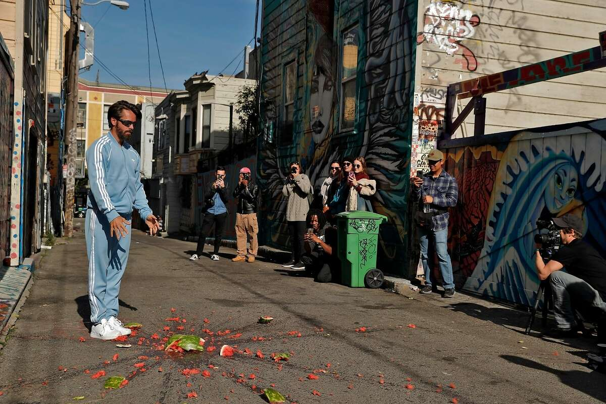 Choreographer Alexander Ekman smashes a watermelon during a S.F. Dance Film Festival video shoot in San Francisco, Calif., on Thursday, May 3, 2018. The 9th annual S.F. Dance Film Festival has commissioned a short film from famed Swedish ballet choreographer Alexander Ekman and filmmaker TM Rives, to premiere at the festival in October. We go on location as they shoot their film in San Francisco with a cast of 5-8 dancers. We?ll take candids of the dancers and of Ekman and Rives directing them, classic stuff like through-the-viewfinder shots, all with the picturesque background of S.F. Ekman has been known to pull people off the street and add them to his films, so if that happens we?ll capture that too.