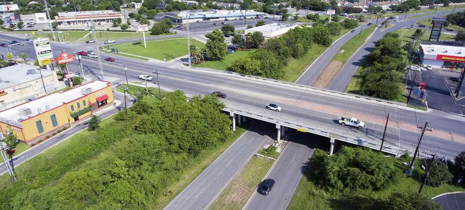 Harry Wurzbach Road goes under Austin Highway as seen Wednesday June, 8, 2016 in an aerial image taken with a remote control quadcopter. Officials are considering a new kind of intersection where Harry Wurzbach connects with the old Austin Highway on the Northeast Side. It would be the second such intersection in the state. Photo: William Luther, Staff / San Antonio Express-News / © 2016 San Antonio Express-News