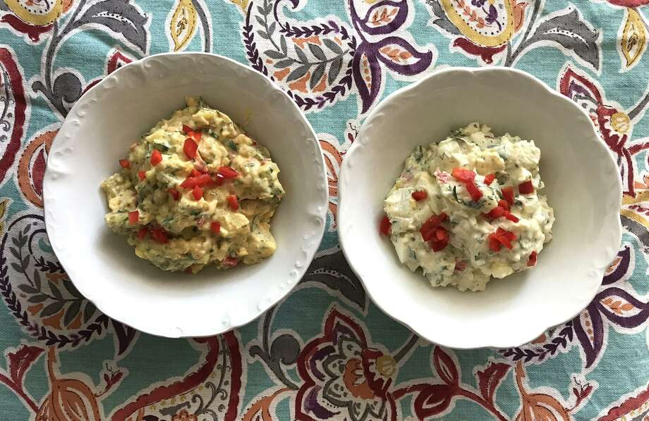 Adding a few herbs and condiments can totally dress up store-bough potato salad — to the point people will think it's homemade. Dressed-up Hill Country Fare Mustard Potato Salad (left) and mayo-based Homestyle Potato Salad. Photo: Emily Spicer /San Antonio Express-News