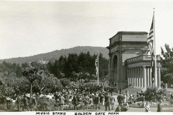 "McCarthy Collection Caption: ""Music Stand Golden Gate Park,"" c. 1912-1915. View of the Spreckels Temple of Music, commonly known as the Music Stand or the Bandshell. The Temple was built in 1899-1900 at the west end of the Music Concourse in Golden Gate Park. A gift to the City of San Francisco from sugar magnate Claus Spreckels, the Temple has been extensively renovated over the years to repair earthquake damage."