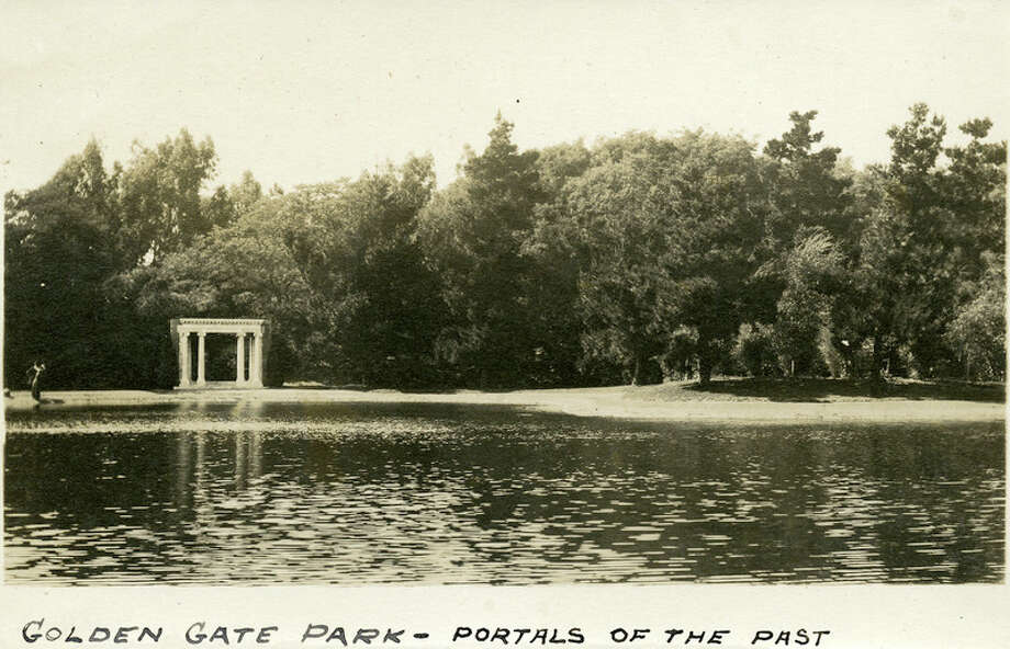 "McCarthy Collection Caption: ""Golden Gate Park -- Portals of the Past,"" c. 1910. A monument in Golden Gate Park in San Francisco, on the shores of Lloyd Lake, consisting of a white marble archway and columns. The archway was originally part of the Nob Hill mansion belonging to railroad tycoon Alban Towne. The mansion was destroyed in the 1906 San Francisco earthquake and fire, but the entryway still stood. It was moved to the shore of Lloyd Lake in 1909, as a memorial to the pre-1906 city. Photo: ""McCarthy Album 05, Photograph 163, "" California State Archives Exhibits, Accessed May 7, 2018, Http://exhibits.sos.ca.gov/items/show/4688."