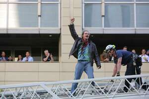 """Environmental activists, including those from the group """"Protect Our Salish Sea,"""" erected four large """"tarpees"""" in the middle of 2nd Avenue between Union and University Streets, blocking traffic for several hours, Monday, May 7, 2019.  Demonstrators protested tar sands and oil pipelines, as well as the companies who invest in those projects, including J.P. Morgan Chase. Fourteen protesters were arrested."""