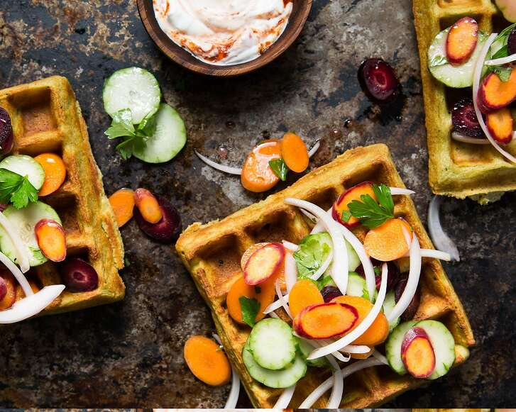 "Falafel waffles with Armenian cucumber slaw from ""The Berkeley Bowl Cookbook,"" by Laura McLively (Parallax Press; $34.95)."