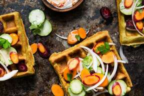 """Falafel waffles with Armenian cucumber slaw from """"The Berkeley Bowl Cookbook,"""" by Laura McLively (Parallax Press; $34.95)."""