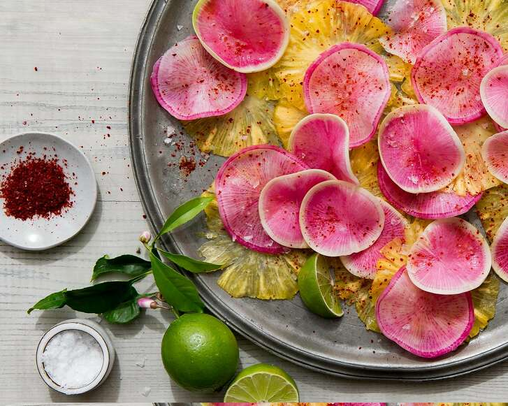 "Watermelon radish & pineapple carpaccio from ""The Berkeley Bowl Cookbook,"" by Laura McLively (Parallax Press; $34.95)."