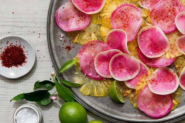 """Watermelon radish & pineapple carpaccio from """"The Berkeley Bowl Cookbook,"""" by Laura McLively (Parallax Press; $34.95)."""