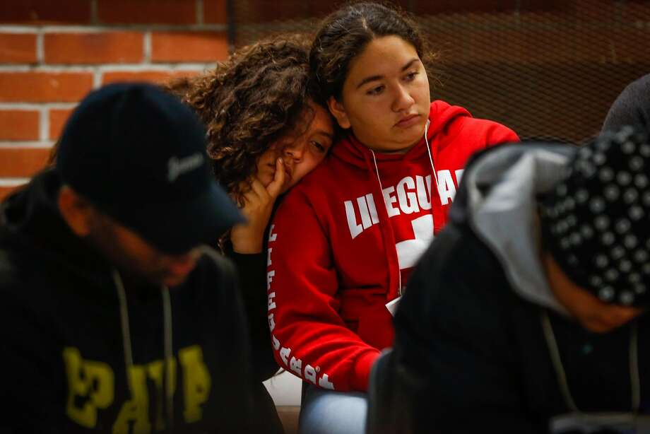 Tammy Mendoza, 14, rests her head on another student's shoulder during an exercise at Camp Everytown last fall. Photo: Gabrielle Lurie / The Chronicle