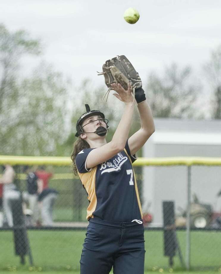 Brookfield High School second baseman Kailee Snyder catches a fly ball in a game against New Fairfield High School, played at New Fairfield. Monday, May 7, 2018 Photo: Scott Mullin / For Hearst Connecticut Media / The News-Times Freelance