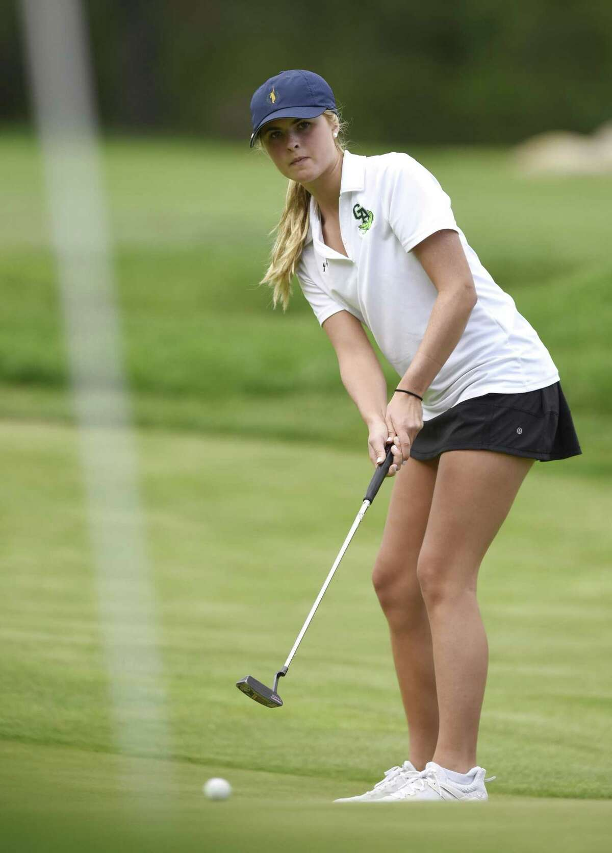 Greenwich Academy's Katie Dzialga competes on Monday at the Round Hill Club in Greenwich. She shot a 41.