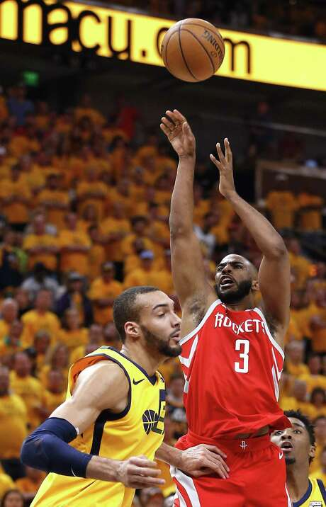 Rockets guard Chris Paul (3) left Jazz players like Rudy Gobert dazed with a 27-point, 12-rebound, six-assist effort in Game 4 on Sunday. Photo: Michael Ciaglo, Houston Chronicle / Houston Chronicle / Michael Ciaglo