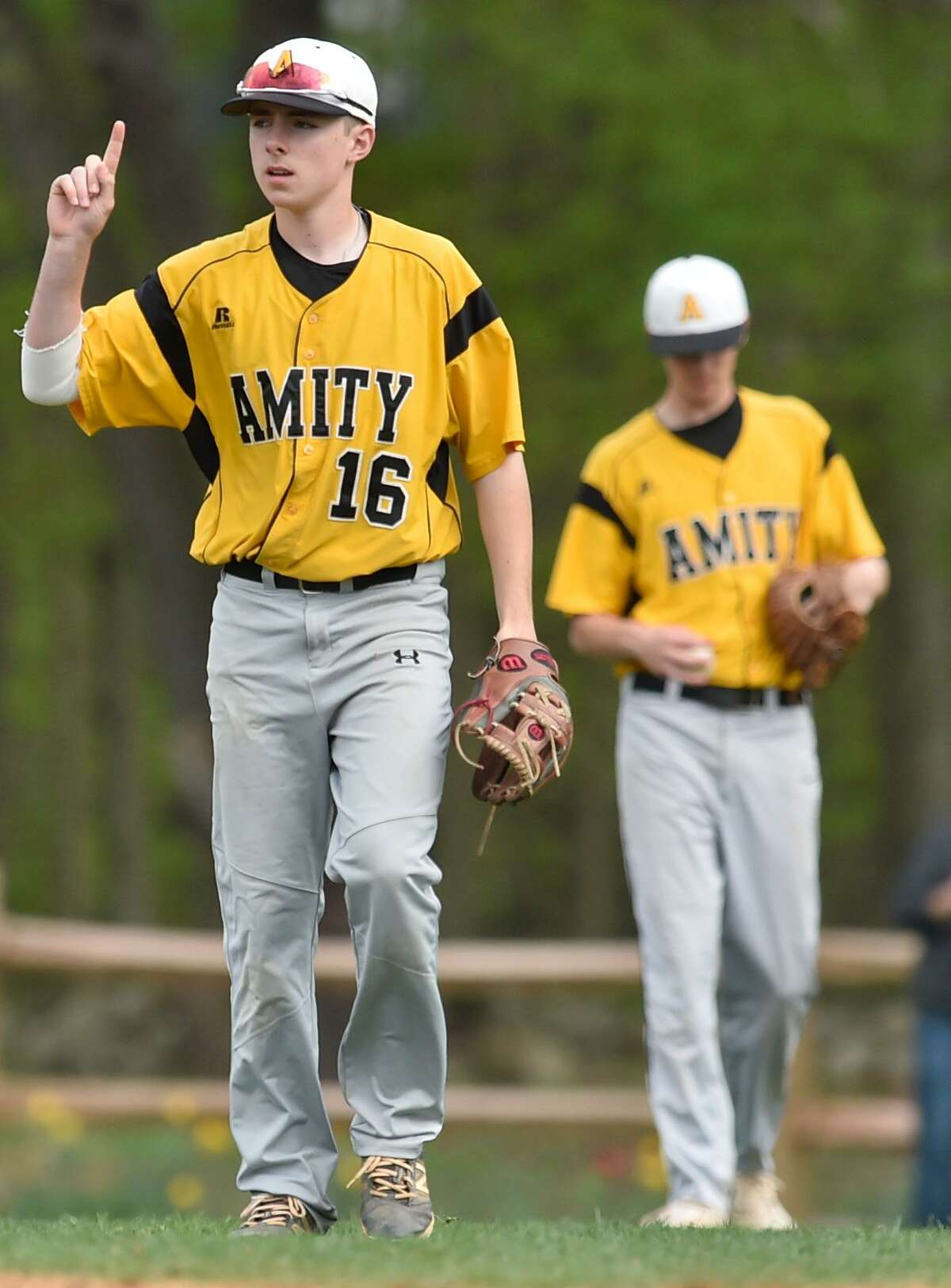 Woodbridge, Connecticut -Monday, May 5, 2018: Amity H.S. baseball vs. Daniel Hand H.S. at Amity H.S. Amity H.S. defeated Hand H.S. 4-3.