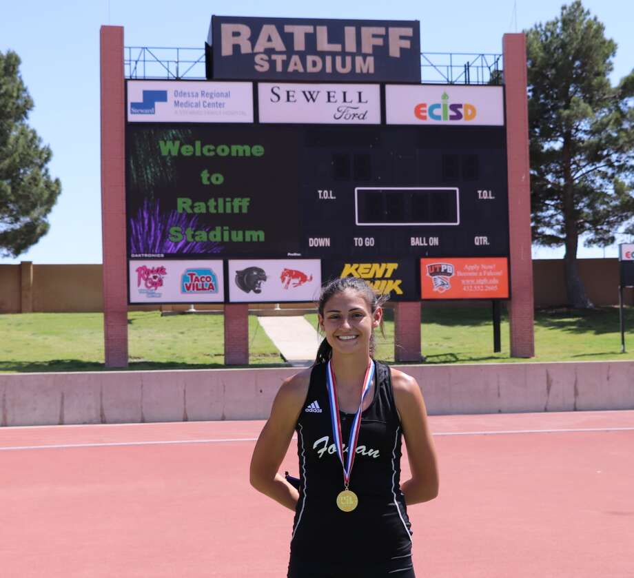 Forsan junior Emily Garcia dons her gold medal after winning the girls 200 meters at the Region I-2A track meet, April 28 at Ratliff Stadium in Odessa. Courtesy photo