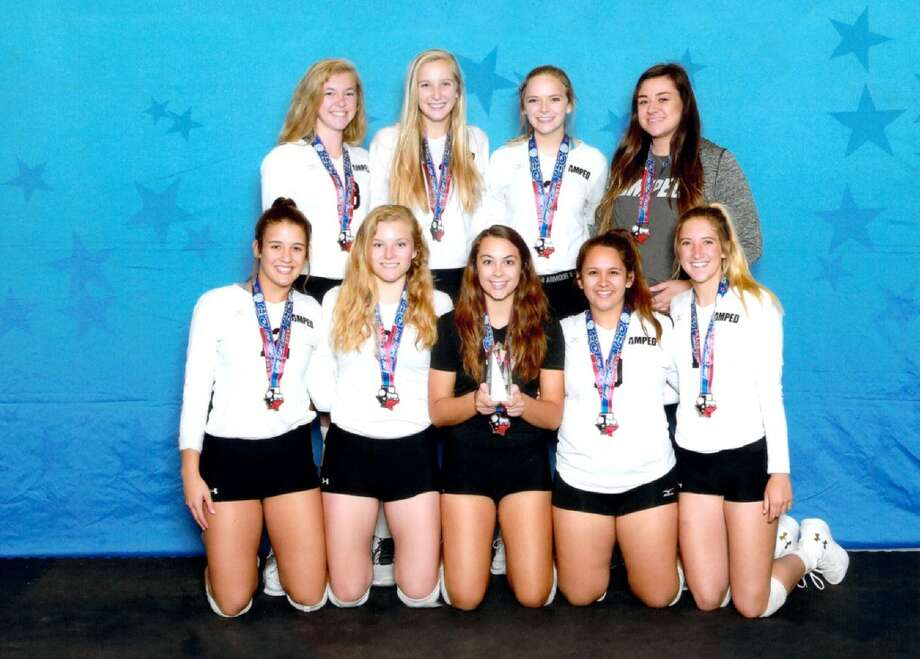 The Midland Edge Amped volleyball team, back row from left to right, Kaitlyn Kennedy, Lizabelle Russell, Macy Kidwell, Coach Kylie Herren. Front row, from left to right, Hayley Branco, Emily Hillman, Jenny Coco, Sarah Mata, Andie Sheppard. Courtesy photo