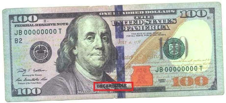 """Counterfeit money, marked with the word """"GECERSIZDIR,"""" was seized in Beaumont recently and may be circulating. Photo provided by Beaumont Police."""