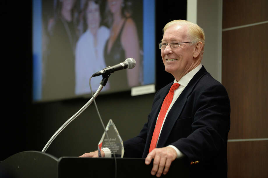 Former Bridge City native Larry Lawson speaks Monday, May 07 during an event at Lamar to recognize him as a recent recipient of the Horatio Alger Award. Other recipients include U.S. presidents, actors and professional athletes. Lawson attended Lamar before becoming a successful entrepreneur.  Photo taken Monday, May 07, 2018 Guiseppe Barranco/The Enterprise Photo: Guiseppe Barranco, Photo Editor / Guiseppe Barranco ©