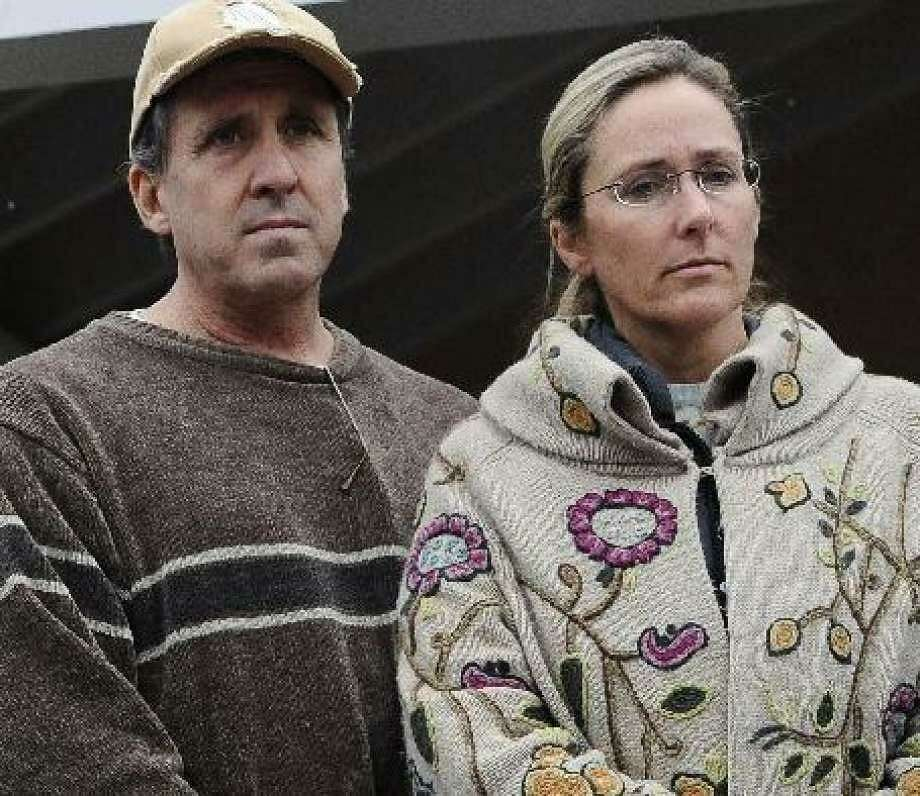 Neil Heslin and Scarlett Lewis, parents of slain Sandy Hook first-grader Jesse Lewis, who sued Newtown and the Newtown Board of Education. Photo: AP Photo / Jessica Hill