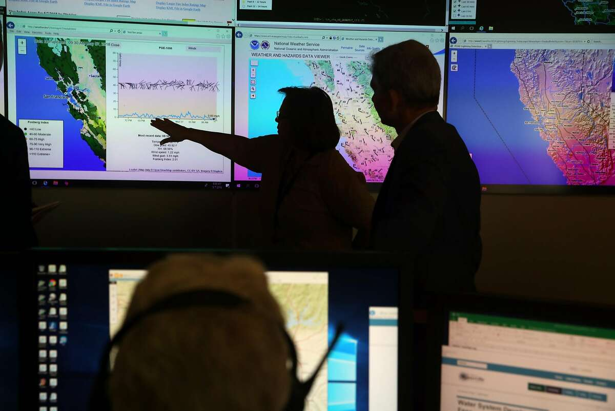 Evermary Hickey, Director of Emergency Preparedness and Response, and Kevin Dasso, PG&E Vice President Electric Asset Management, at PG&E's Wildfire Safety Operations Center in San Francisco, CA on Monday, May 7, 2018.