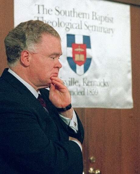 """FILE - Paige Patterson, president of the Southern Baptist Convention, listens during a news conference at the Southern Baptist Theological Seminary in Louisville, Ky., Sept. 10, 1998. Patterson is facing calls to resign after a 2014 video shows him calling a teenage girl """"fine."""" Photo: Brian Bohannon, AP"""