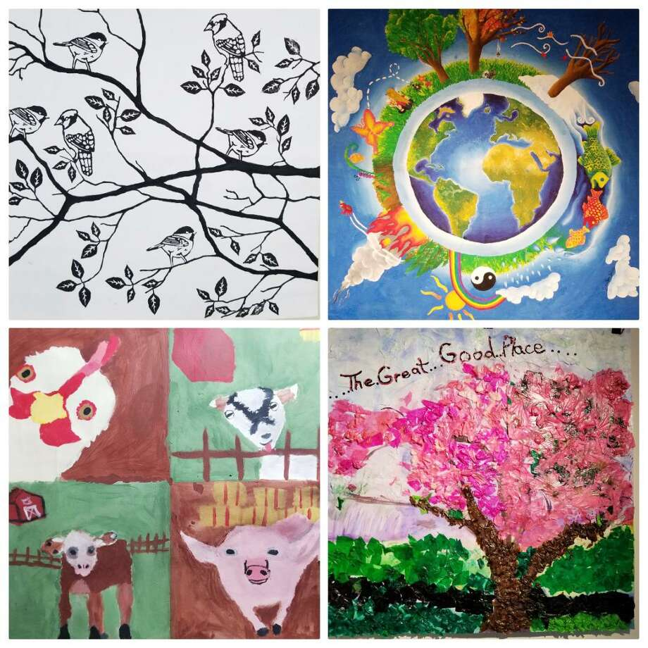 Some of the student artwork from the Impressions of Nature Exhibit, on display at Weir Farm National Historic Site through June 3. Photo: Contributed Photo / Norwalk Hour contributed