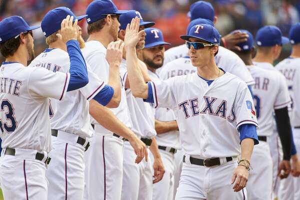 ARLINGTON, TX - MARCH 29: Tim Lincecum #44 of the Texas Rangers is announced before playing against the Houston Astros at Globe Life Park on Thursday, March 29, 2018 in Arlington, Texas. (Photo by Cooper Neill/MLB Photos via Getty Images)