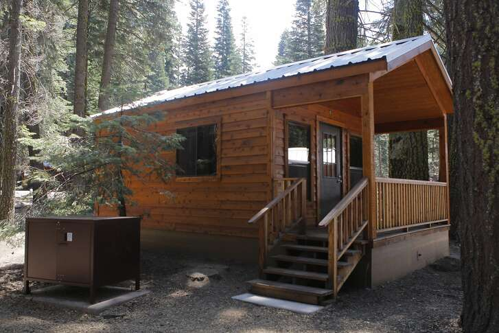 Entrance of rental cabin at Manzanita Lake at Lassen Volcanic National Park