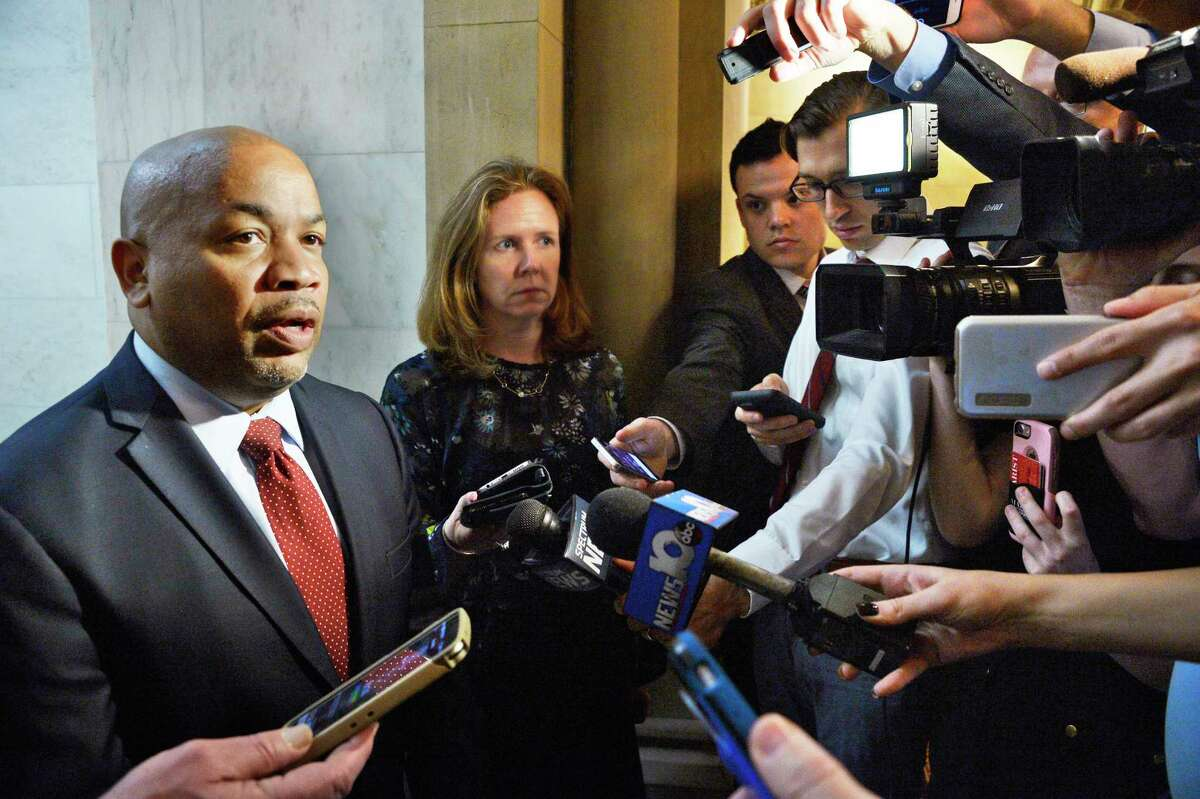 Assembly Speaker Carl Heastie, left, speaks with reporters about an Attorney General appointment at the Capitol Tuesday May 8, 2018 in Albany, NY. (John Carl D'Annibale/Times Union)