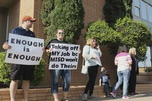 MISD parents gather 05/08/18 morning outside MISD Administration Building to protest MISD administration's handling of bullying cases in schools. Tim Fischer/Reporter-Telegram