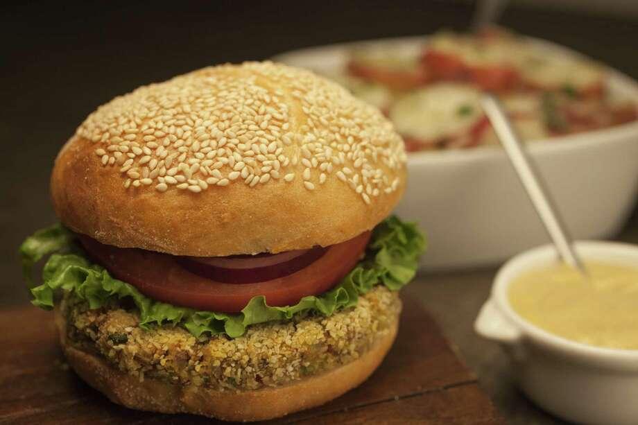 Veggie Burgers and Warm Potato Salad Photo: Courtesy Nicola Shayer / ©2014 The Culinary Institute of America - Nicola Shayer