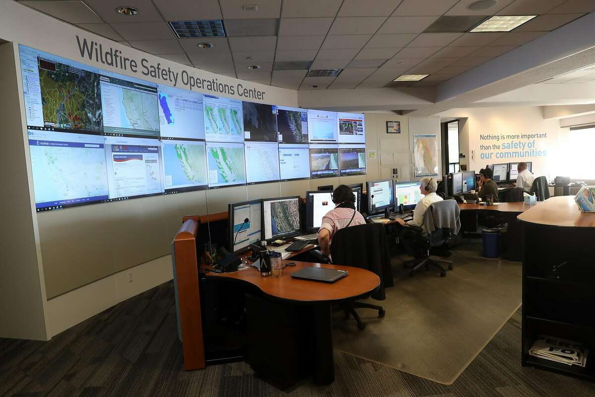 Analysts work at PG&E's Wildfire Safety Operations Center in San Francisco, CA on Monday, May 7, 2018.