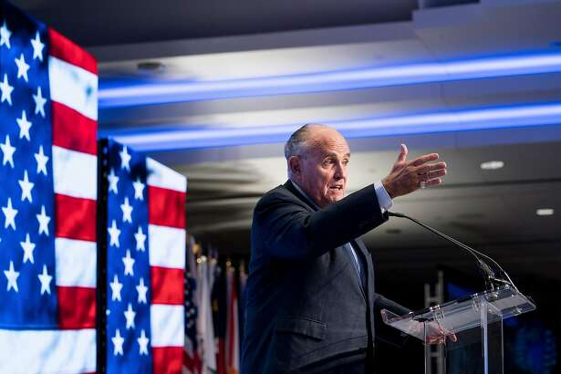 Rudy Giuliani speaks at the Iran Freedom Convention, at the Grand Hyatt in Washington, May 5, 2018. Giuliani, who recently joined President Donald Trump's legal team, said on Sunday that Trump would not have to comply with a subpoena if one were issued by the special counsel investigating Russian interference in the presidential election. (Erin Schaff/The New York Times)