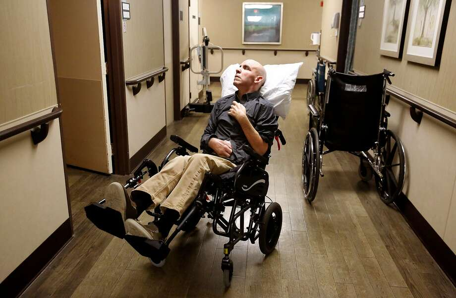 Bernie Dalton waits in the hallway of Cupertino Healthcare & Wellness to be taken to his album release party in San Francisco on Friday, February 9, 2018. Photo: Guy Wathen / The Chronicle