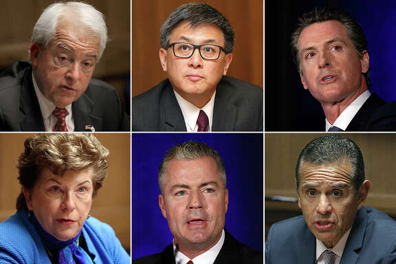 The six major candidates for California governor (from top left): John Cox, John Chiang, Gavin Newsom, Delaine Eastin, Travis Allen and Antonio Villaraigosa.