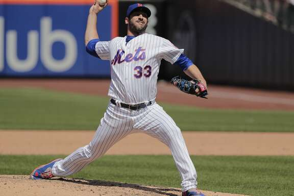 New York Mets' pitcher Matt Harvey (33) delivers against the Atlanta Braves during the seventh inning of a baseball game, Thursday, May 3, 2018, in New York. (AP Photo/Julie Jacobson)