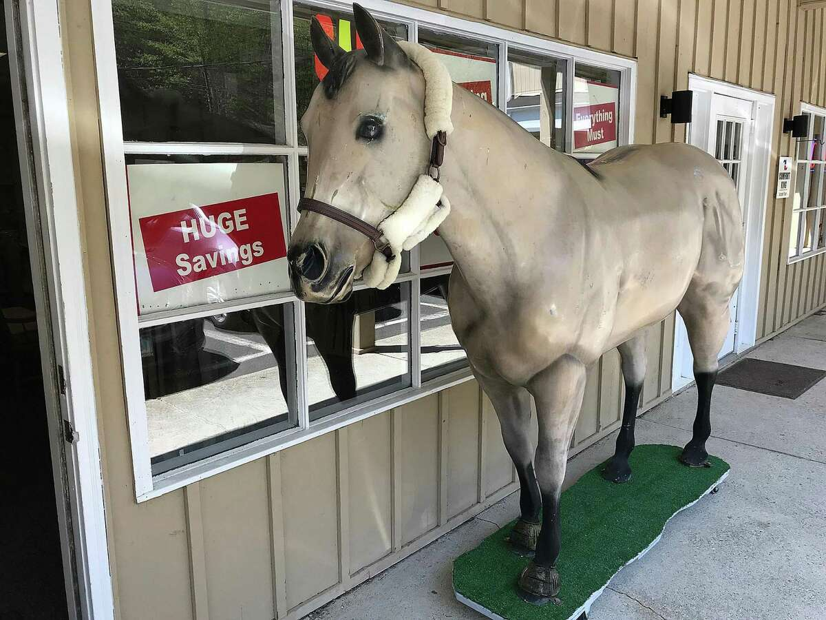 """""""Bucky"""" stands guard outside All the King's Horses tack shop on Ethan Allen Highway in Ridgefield, Conn., on Tuesday, May 8, 2018. The store is closing after 44 years in business."""