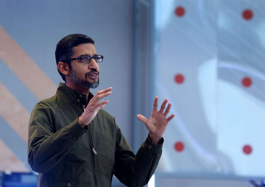 Google CEO Sundar Pichai delivers the keynote speech for the Google I/O conference at the firm's Mountain View campus. Photo: Paul Chinn / The Chronicle
